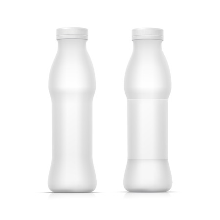 pack ice: Set of Blank White Bottles for Milk or Yogurt