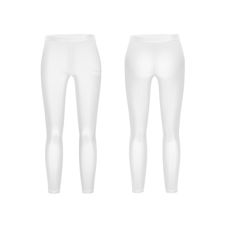Vector White Leggings Pants Isolated on Background Illustration