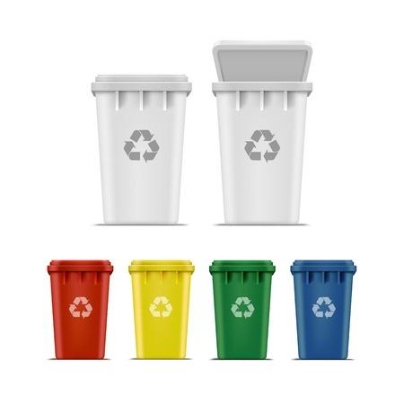 cesto basura: Vector Conjunto de las papeleras de reciclaje de basura y la basura