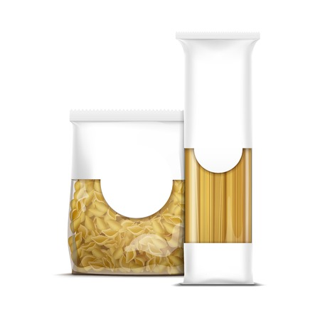 packaging template: Spaghetti and Shells Pasta Packaging Template Illustration