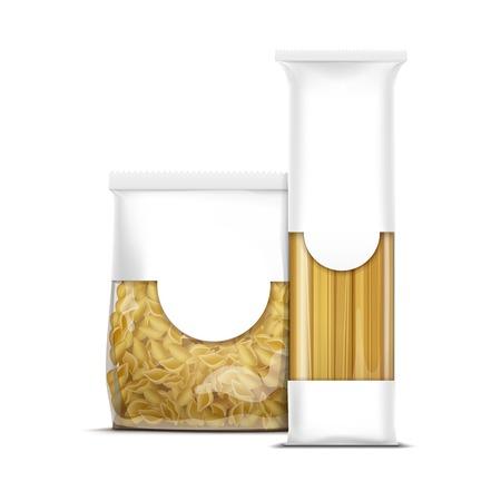 plastic box: Spaghetti and Shells Pasta Packaging Template Illustration