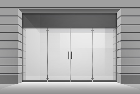 glass doors: Vector Shop Boutique Store Front with Big Window