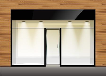 tienda de ropa: Vector Tienda Boutique Frente de la tienda con la ventana grande Vectores
