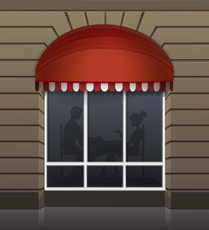 restaurant exterior: Vector Exterior of Restaurant Cafe Front Illustration