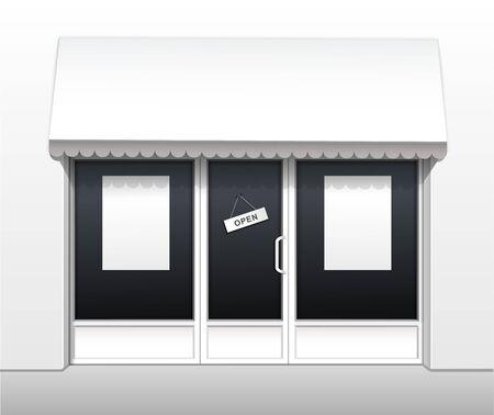 restaurant exterior: Vector Exterior of Restaurant Cafe Shop Front
