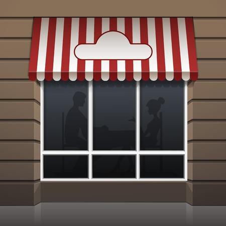 shopfront: Vector Exterior of Restaurant Cafe Front Illustration