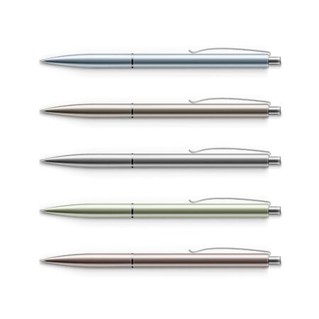 clericalist: Vector Set of Blank Multicolored Metal Pens