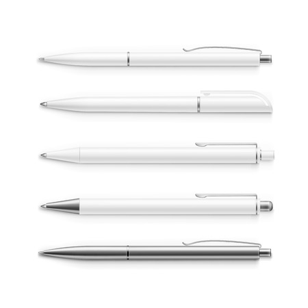 ball pens stationery: Vector conjunto de plumas en blanco aislado en blanco