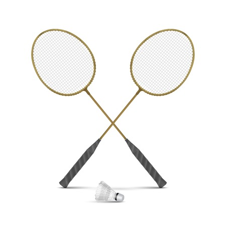 shuttlecock: Vector Badminton Rackets with Shuttlecock Isolated Illustration
