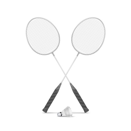badminton racket: Vector Badminton Rackets with Shuttlecock Isolated Illustration