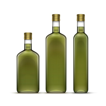 Vector Set of Olive Oil Glass Bottles Isolated Ilustrace
