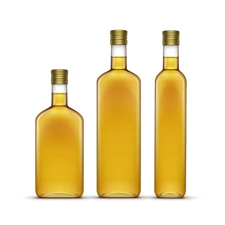 aceite oliva: Vector Set de oliva o aceite de girasol de cristal Botellas Vectores