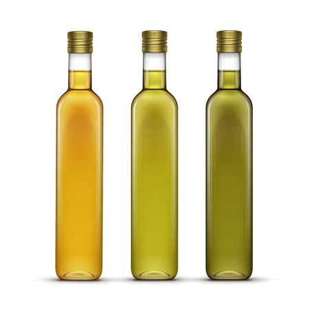 Set of Olive or Sunflower Oil Glass Bottles 矢量图像
