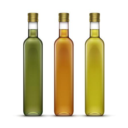 Set of Olive or Sunflower Oil Glass Bottles