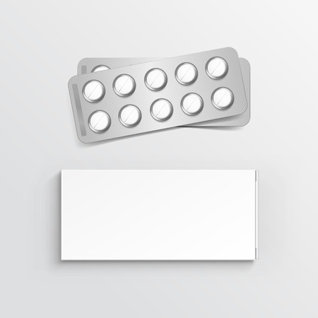 Vector Blank White Package Box for Blister of Pills Isolated on Background