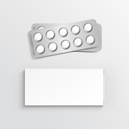 medizin logo: Vector Blank White Box-Paket für Blister mit Pillen isoliert auf Hintergrund Illustration