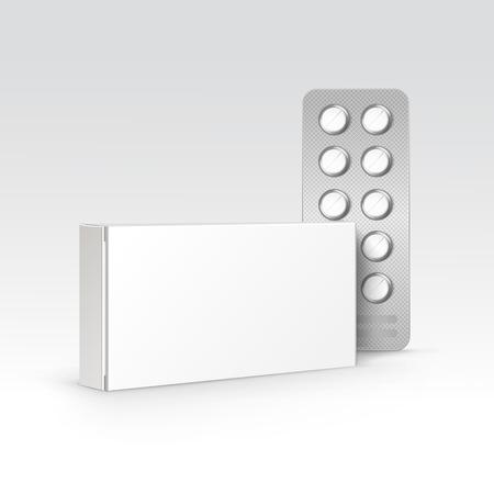 pastillas: Vector blanco blanco caja del paquete de ampolla de píldoras aisladas en el fondo