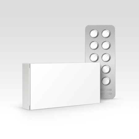 white boxes: Vector Blank White Package Box for Blister of Pills Isolated on Background