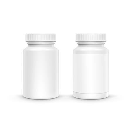 pill: Vector Blank Plastic Packaging Bottle with Cap for Pills Isolated on White Background