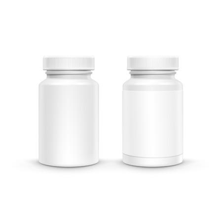 botellas de plastico: Vector de plástico blanco de la botella de embalaje con el casquillo de las píldoras aisladas en el fondo blanco Vectores