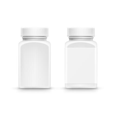 pill box: Vector Plastic Packaging Bottle with Cap for Pills Illustration