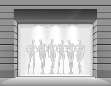 shop floor: Clothing Shop Boutique Store Front with Mannequins