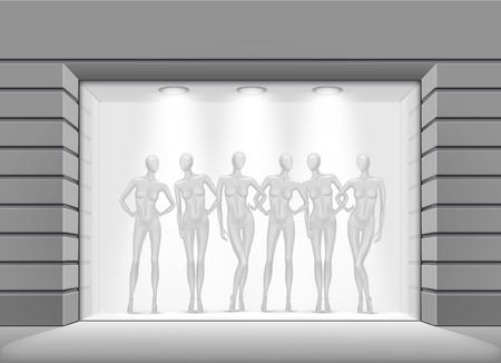 vitrine: Clothing Shop Boutique Store Front with Mannequins