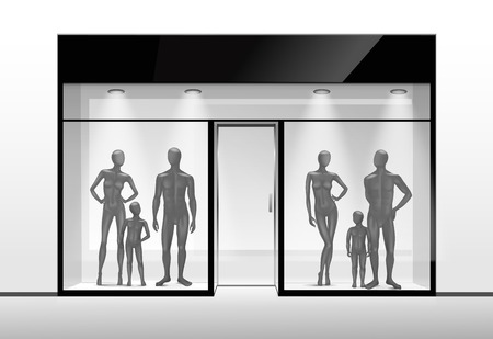 view window: Clothing Shop Boutique Store Front with Mannequins