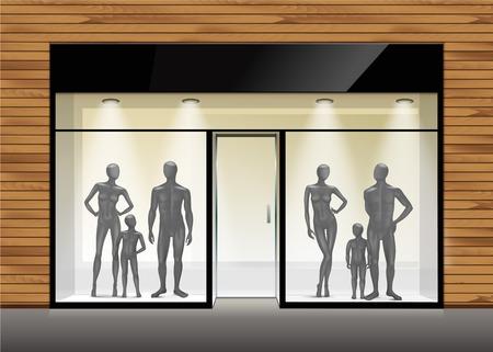 mannequin: Boutique de vêtements Boutique Store Front avec Mannequins