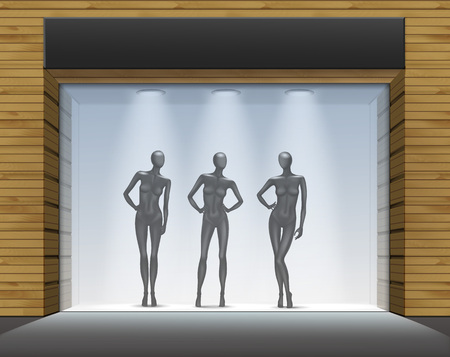 glass doors: Clothing Shop Boutique Store Front with Mannequins