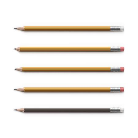 secretarial: Set of Multicolored Pencils with Erasers Isolated