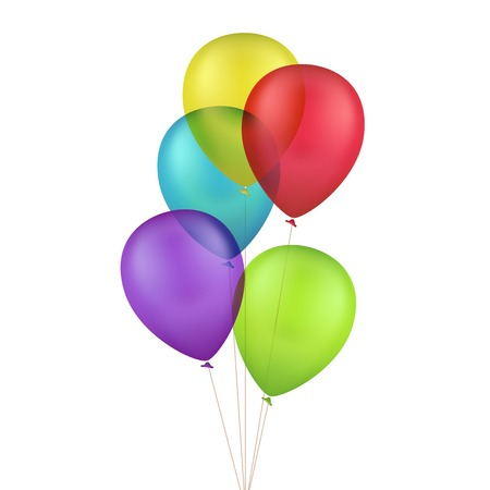 Vector Multicolored Colorful Balloons Isolated on White Background Çizim
