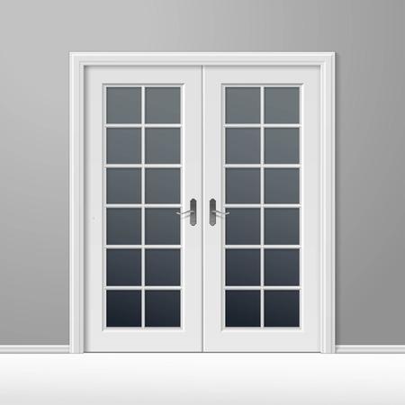 Blanco Puerta Cerrada con Marco Ilustración de vector