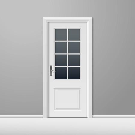puertas de madera: Vector blanco Puerta Cerrada con Marco