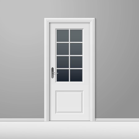 door lock: Vector White Closed Door with Frame