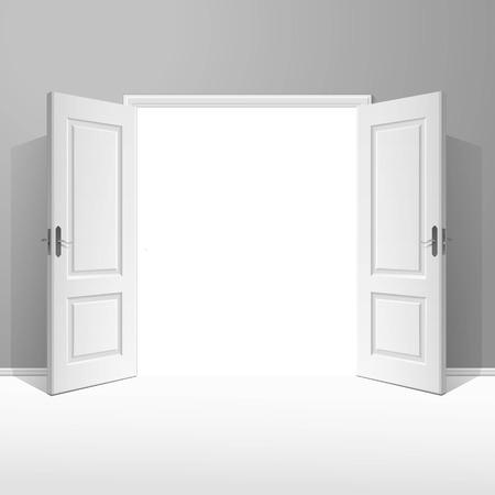 White Open Door with Frame