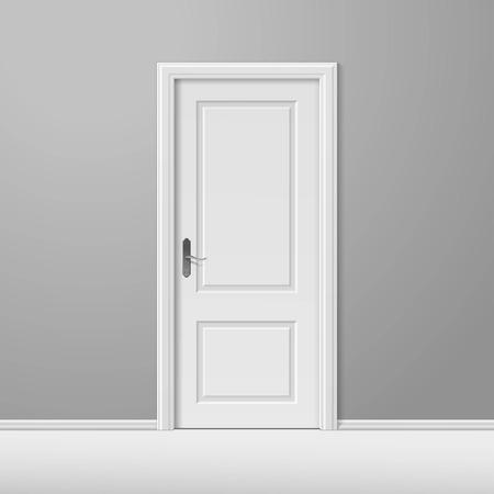 Biały zamknięte drzwi z ramą