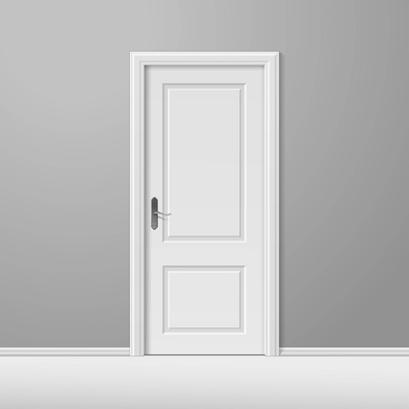 door handles: White Closed Door with Frame