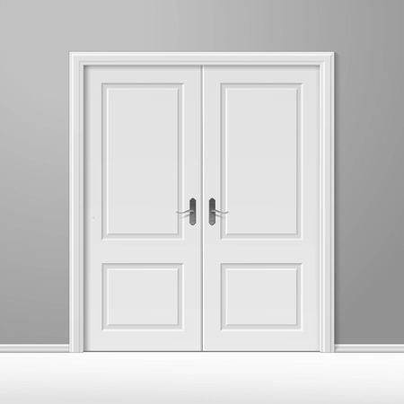 door handle: White Closed Door with Frame