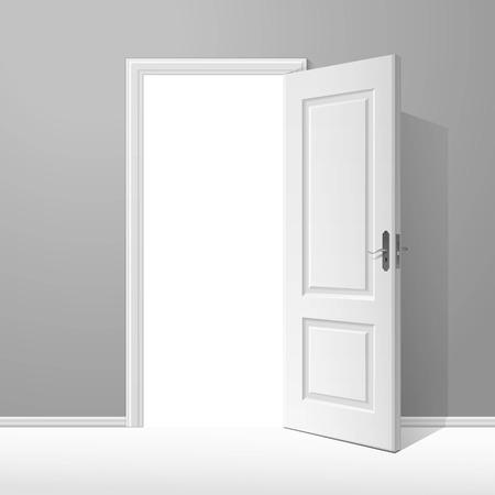 Porte ouverte blanche avec cadre