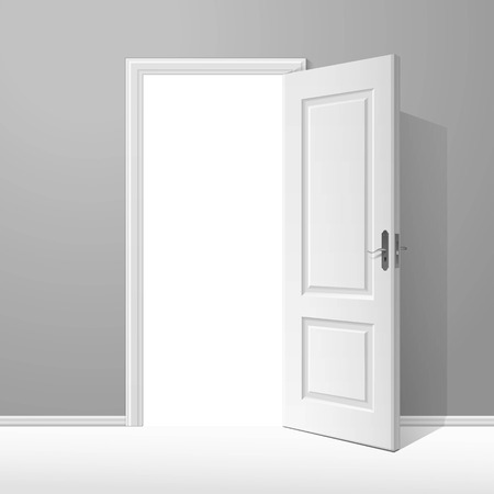 door handle: White Open Door with Frame