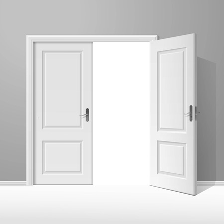 room door: White Open Door with Frame