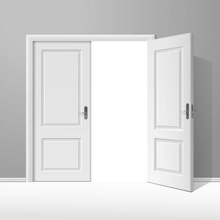 doorhandle: White Open Door with Frame