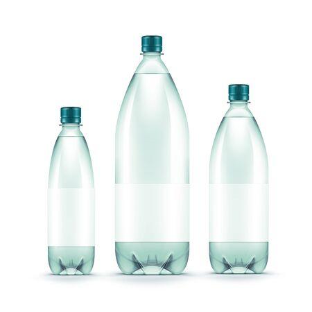 bottle label: Vector Blank Plastic Blue Water Bottle Isolated