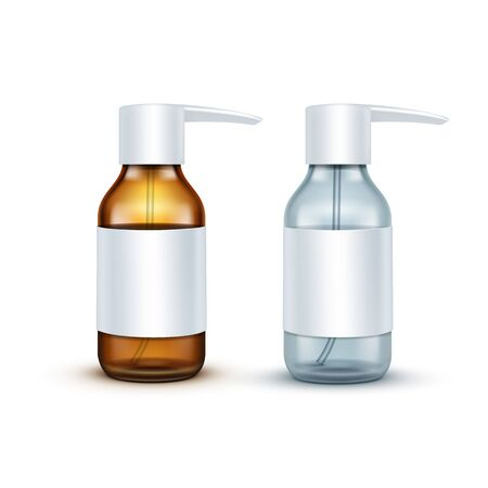 bottle nose: Vector Blank Glass Medical Spray Bottle Isolated Illustration