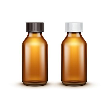 botellas de plastico: Vector blanco botella de cristal medicina Aislado