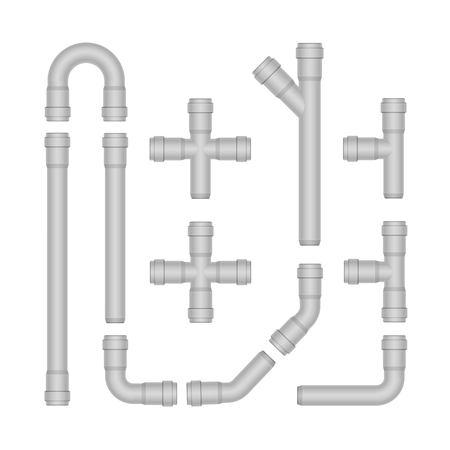 Vector Set of Plastic Pipes Isolated on White  イラスト・ベクター素材