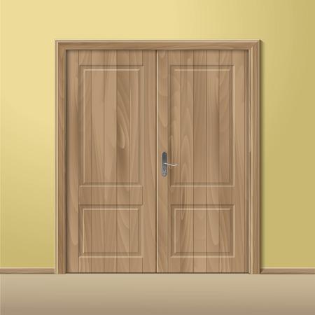 ベクトルの木が分離したフレームとドアを閉めた