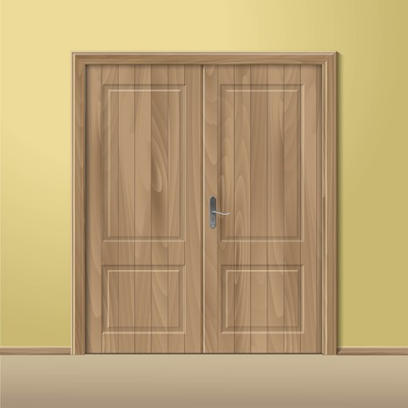 Vector Wood Closed Door with Frame Isolated Reklamní fotografie - 41233509