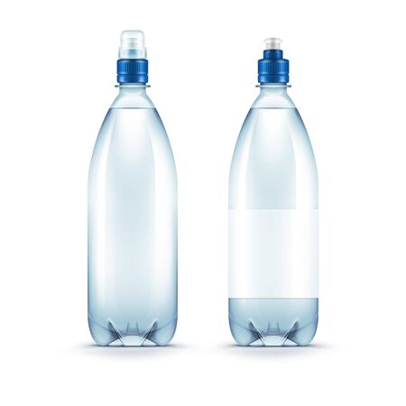 blue water: Vector Blank Plastic Blue Water Bottle Isolated